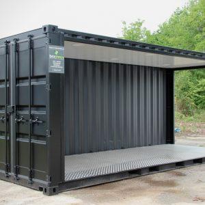 Container événementiel aménagé avec un toit et spots led 2