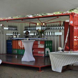 Container événementiel aménagé stand alcool open side