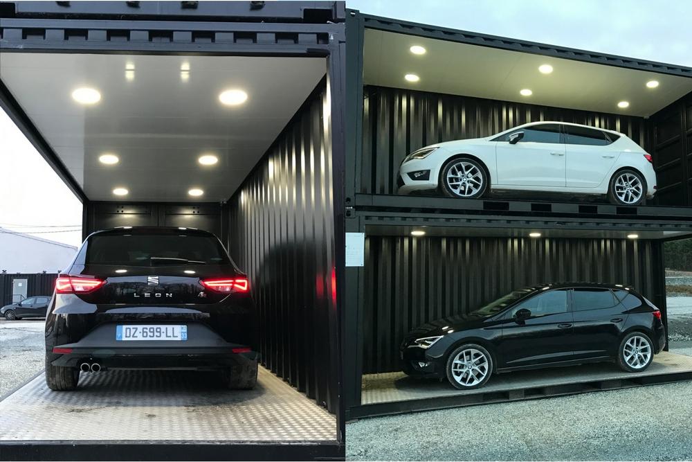 container événementiel voiture dans un container double