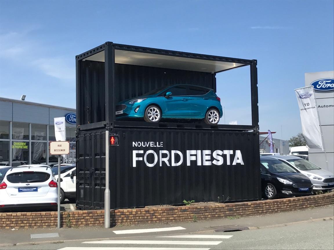 nouvelle ford fiesta en container expo container événementiel